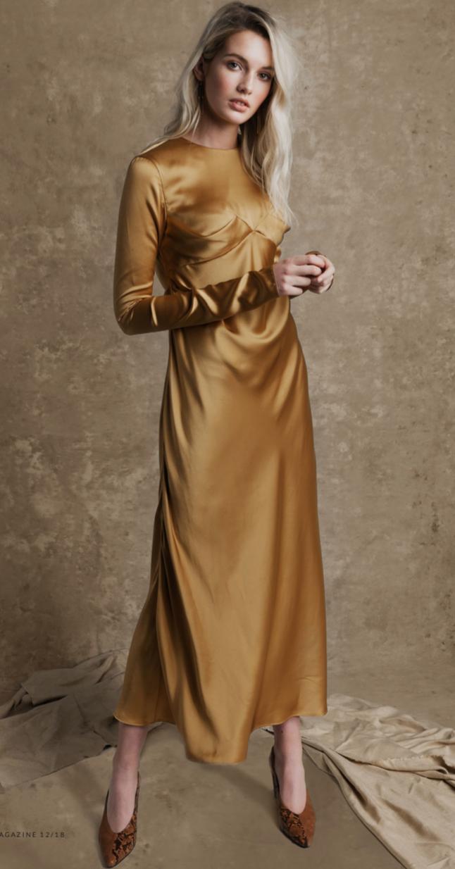 Rebecca in the Knight bias-cut dress. Image by  Tobias Delcroix