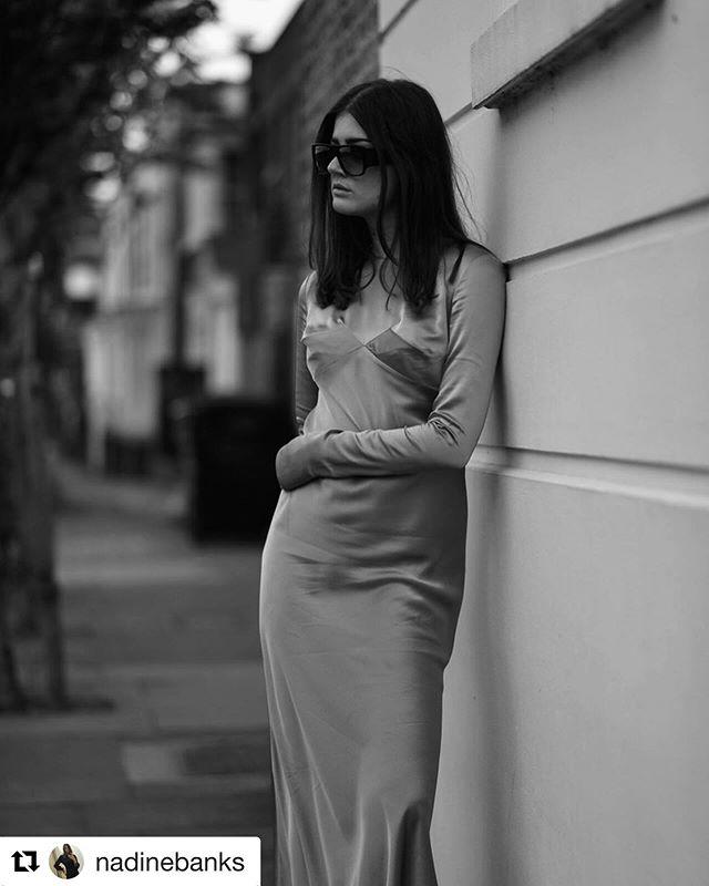 😎🖤 Repost @nadinebanks in the Knight bias-cut dress ・・・ Silky 🧡 @lauraironsidestudio