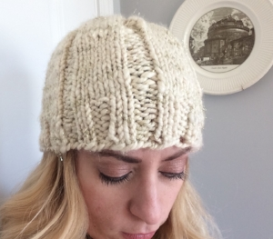 handspun wide ribbed hat  click for free pattern