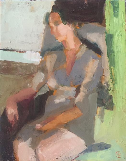 "Nap, Oil on canvas, 8""x10"", $550"