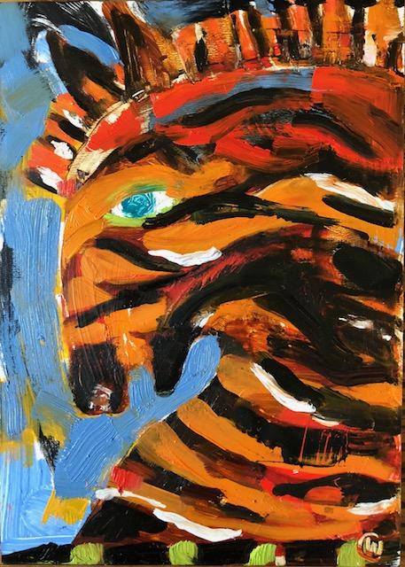 """Horse 1, Acrylic + oil on board, 5""""x7"""", $275"""
