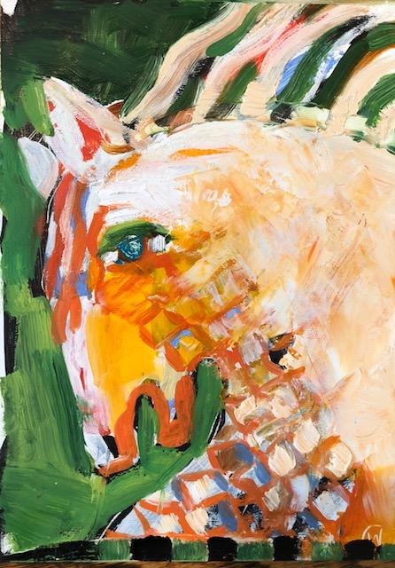 """Horse 3, Acrylic + oil on board, 5""""x7"""", $275"""