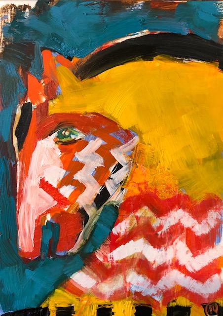 """Horse 4, Acrylic + oil on board, 5""""x7"""", $275"""