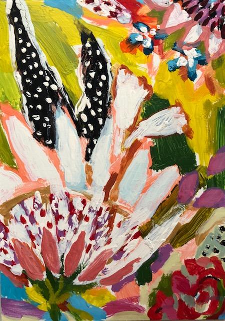 """Flower 2, Acrylic + oil on board, 5""""x7"""", $275, SOLD"""