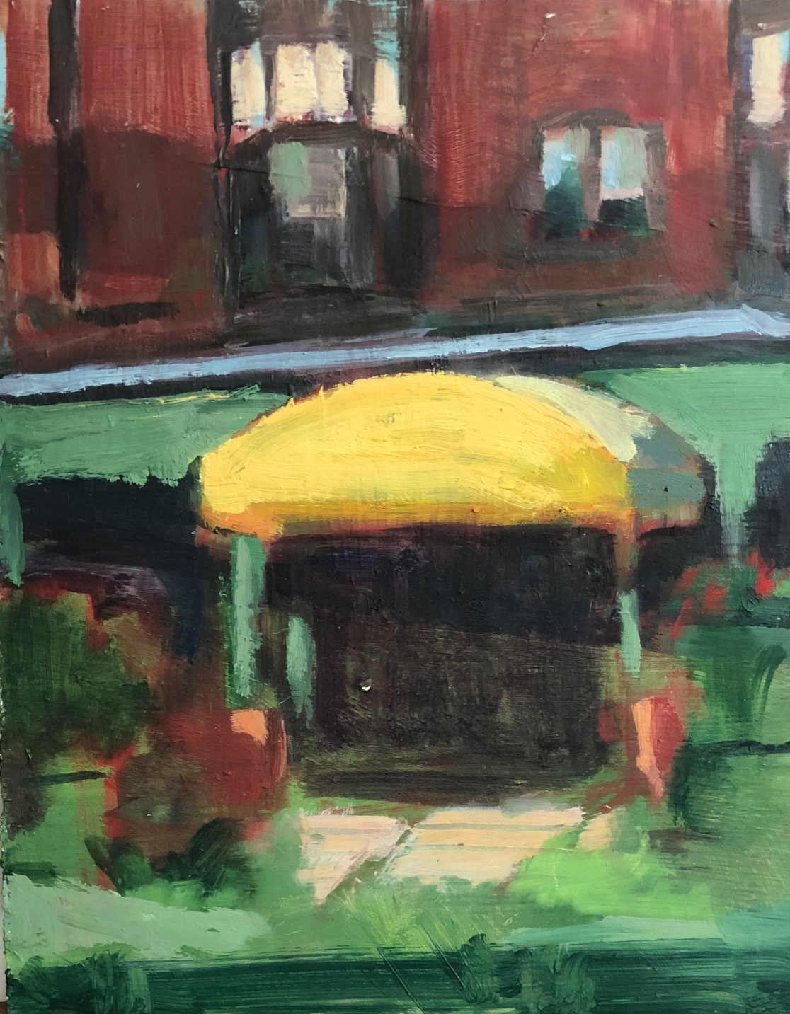"Awning, Oil on board, 8""x 10"", $550"