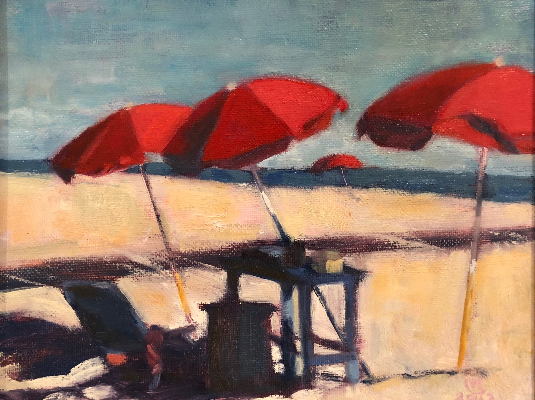 "Red Umbrellas, Oil on canvas, 8""x 10"" $550"