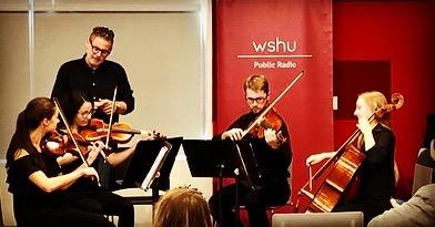 We had a great time today meeting and working with students on Haydn and Schubert quartets! @sacredheartuniversity #catalystquartet #masterclass #stringquartet #chambermusic #teach #share #passiton #sacredheartuniversity #connecticut #college #university #music #classicalmusic #fun #tradition #violin #viola #cello