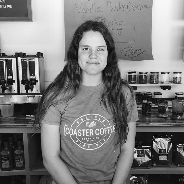 Meet your barista, this is our very own Ally! #coastercoffee#coffee#coffeeshop#norfolk#norfolkva#navalstationnorfolk#norfolkvirginia#va#virginia#oceanview#oceanviewbeach#vabeach#peopleofcoaster