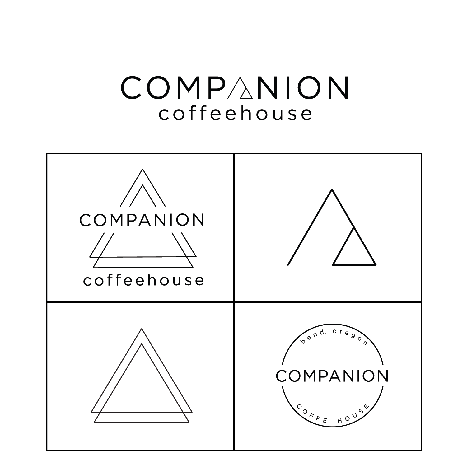 Logo+Merch Design+brand identity - Companion Coffeehouse is located in Bend, Oregon and has a beautifully modern, bright style to their space, featuring artisan crafted coffee and a tranquil atmosphere. Creating Companion's logo, packaging and branding, I wanted to incorporate clean, minimal design reflecting The Sister's Mountains which are infamous in Bend and the greater Pacific North West. This project was an all-time favorite, creating uniquely minimal designs, clean lines and a modern scope for their branding.