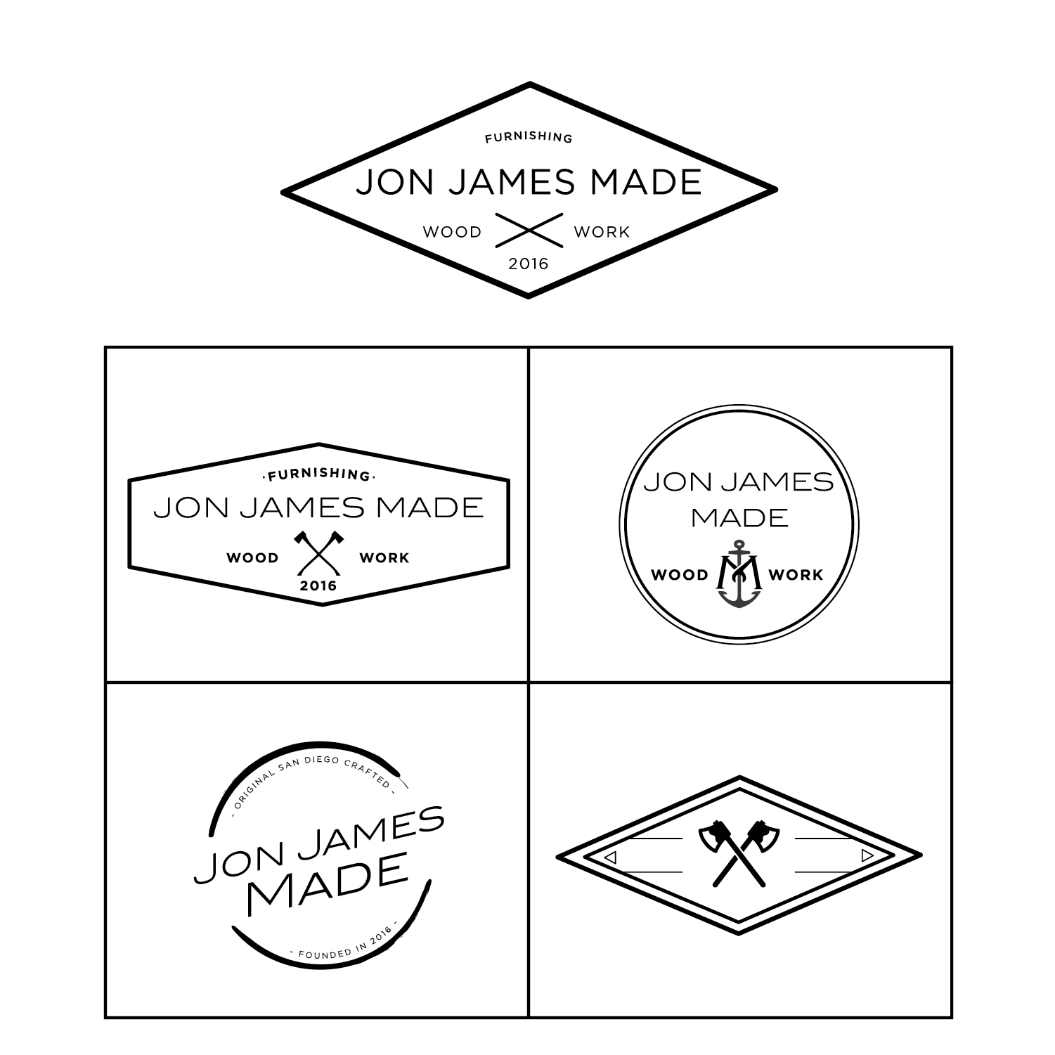 logo design + full branding - Jon James Made is a San Diego based badass wood working company. With a rustic style and sturdy creations, this company sought after a strong branding identity to showcase their even stronger pieces of work.