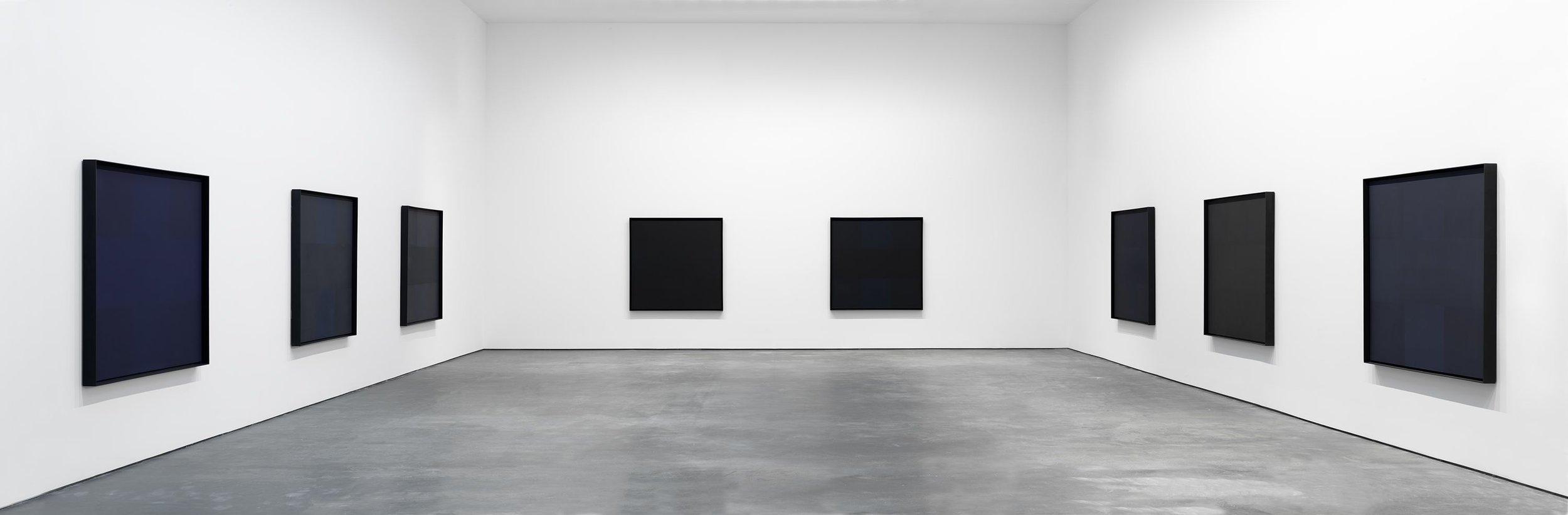 "Ad Reinhard, ""Black Paintings,"" 1954-1967 Installation view. (Courtesy David Zwirner)"