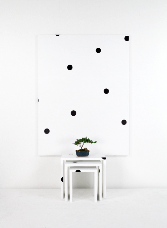 Margaret Lee, (Superstudio Nesting tables) + Dot Painting + Bonsai, 2014