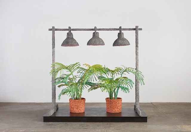 Evan Holloway, Two Ferns, 2017 Steel, cardboard, CelluClay, Cel-vinyl and acrylic, Photo by Lee Thompson