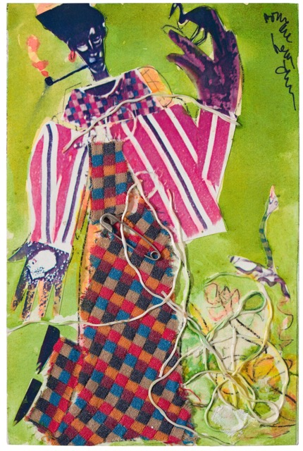 Bayou Fever, The Buzzard and the Snake, 1979 Collage on fiberboard with attached string and safety pin 9 x 6 inches © Estate of Romare Bearden. Courtesy of DC Moore Gallery, New York.