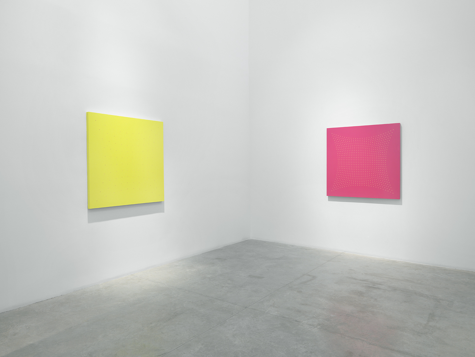 Many Moments - Acid Green and  Galla Placidia - Pink, 2005 Oil on linen,   Courtesy of Christopher Burke Studio