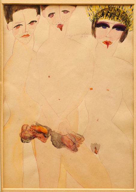 Carol Rama, Appassionata (Marta e i marchettoni) [Passionate (Marta and the Rent Boys)], 1939 Watercolor on paper © Archivio Carol Rama, Turin Photo/ Pino dell'Aquila