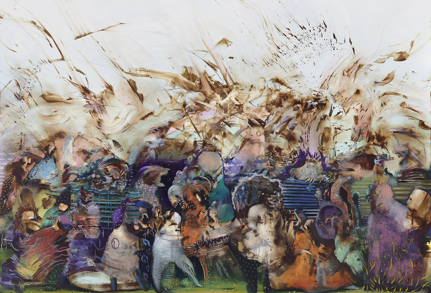 Ali Banisadr, We work in shadows, 2017 Oil on linen Courtesy the Artist and Sperone Westwater, New York
