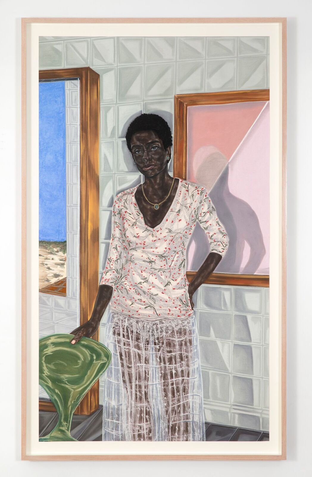 Toyin Ojih Odutola (b. 1985),Pregnant, 2017. Charcoal, pastel and pencil on paper, 74 1/2 x 42 in. ©Toyin Ojih Odutola. Courtesy of the artist and Jack Shainman Gallery, New York