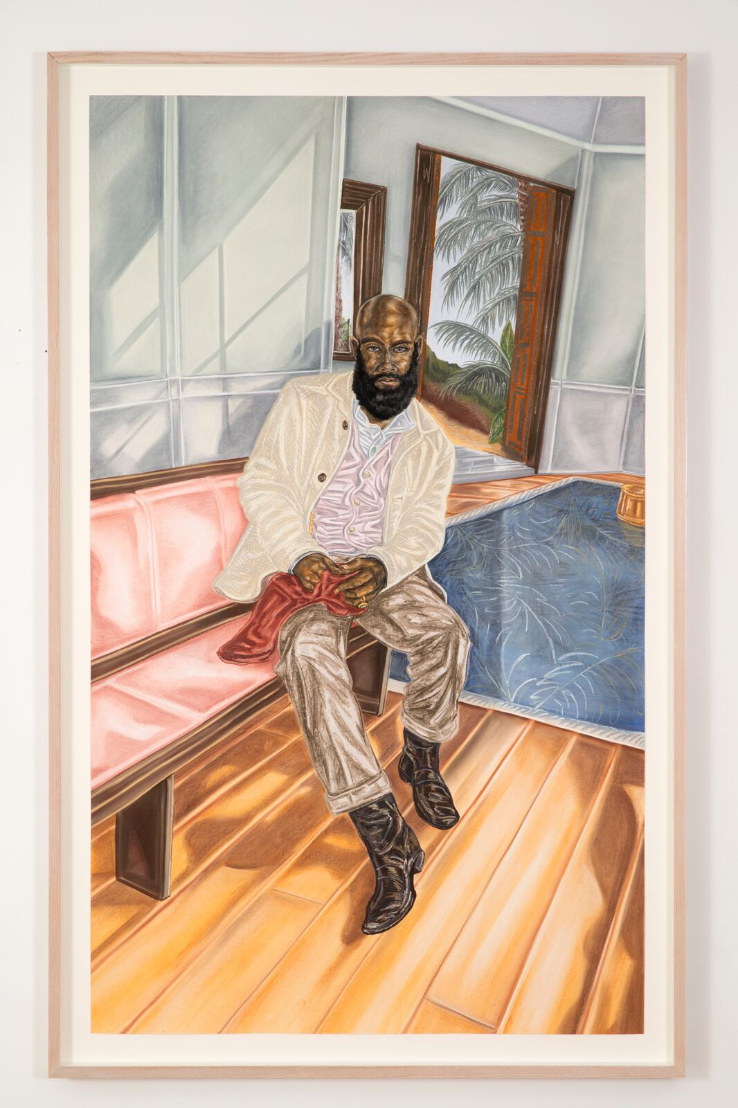Toyin Ojih Odutola (b. 1985),Years Later - Her Scarf, 2017. Charcoal, pastel and pencil on paper, 72 x 42 in. ©Toyin Ojih Odutola. Courtesy of the artist and Jack Shainman Gallery, New York