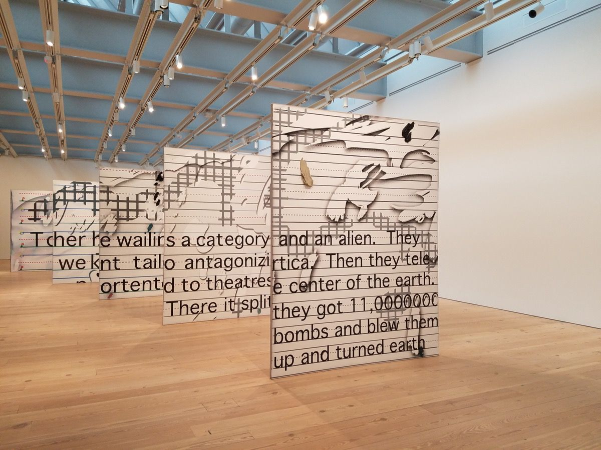 Installation view of Laura Owens,Untitled, 2015, at the Whitney Museum of American Art, 2017.
