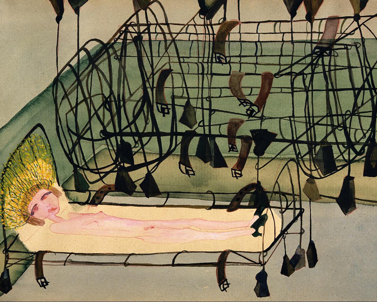 Carol Rama, Appassionata [Passionate], 1940. Watercolor and pencil on paper, 9 × 13 in (23 × 33 cm). © Archivio Carol Rama, Turin. Collection Fondazione Guido ed Ettore De Fornaris, GAM Galleria Civica d'Arte Moderna e Contemporanea, Turin. Courtesy Fondazione Torino Musei. Photo: Studio Gonella