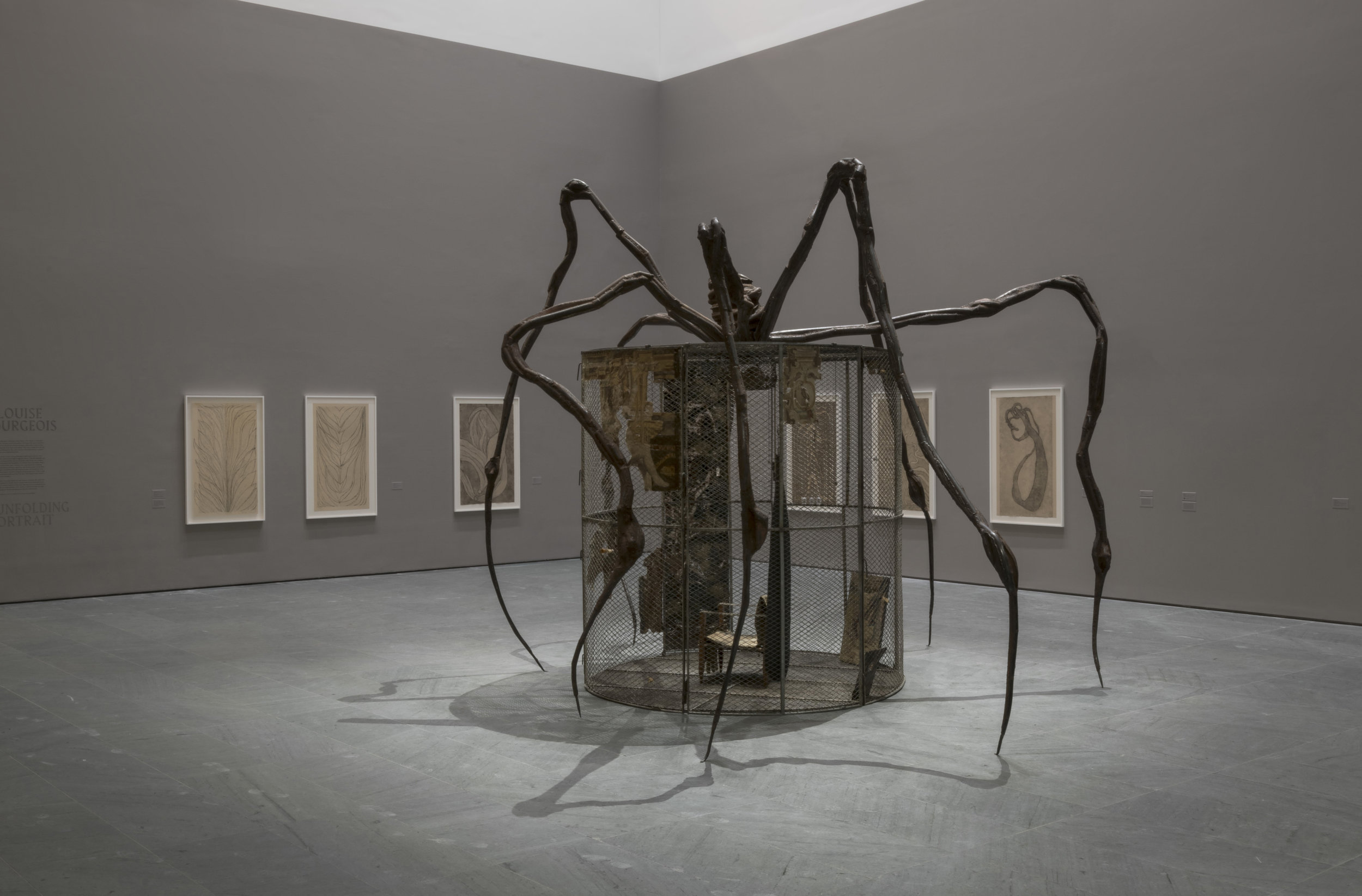 Installation view of Louise Bourgeois: An Unfolding Portrait. The Museum of Modern Art, New York, September 24, 2017–January 28, 2018. Photo by Martin Seck for the Museum of Modern Art © 2017 The Easton Foundation/Licensed by VAGA, NY.