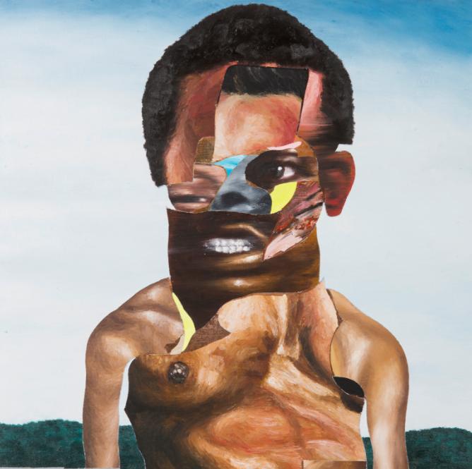 D, 2018, Oil paint, paint stick, oil pastel, gouache on linen canvas 20 × 20 inches (51 × 51 cm)