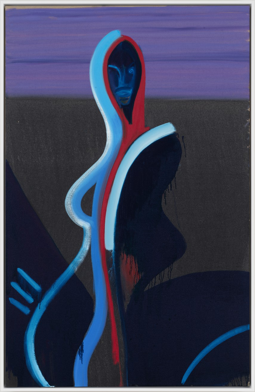 Spencer Sweeney, Sensual Shade, 2018, oil and oil stick on linen, 66 × 42 inches (167.6 × 106.7 cm)