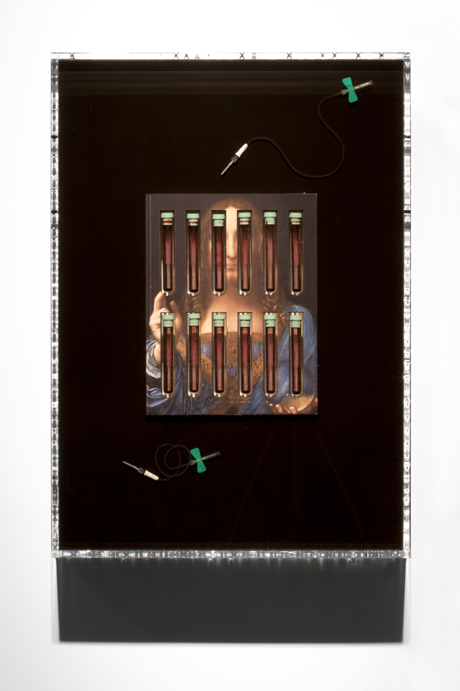 Jordan Eagles, Jesus, Christie's, 2018, Christie's sale catalog, medical tubes, needles, and blood; plexiglass and UV resin. Courtesy of the artist.