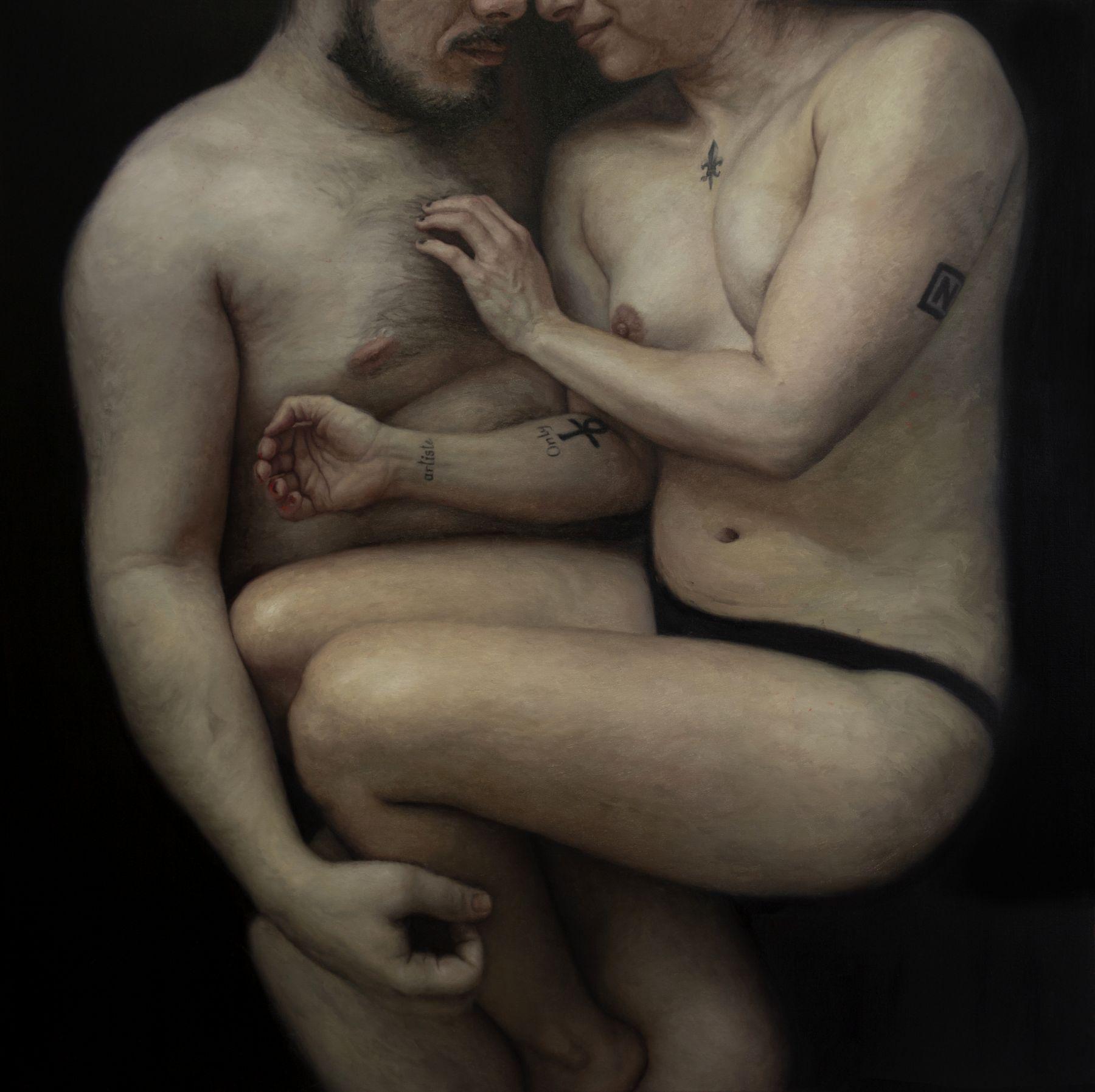 Couple (GZ2_Macro),  2019, Oil on canvas, 60 x 60 in / 152 x 152 cm