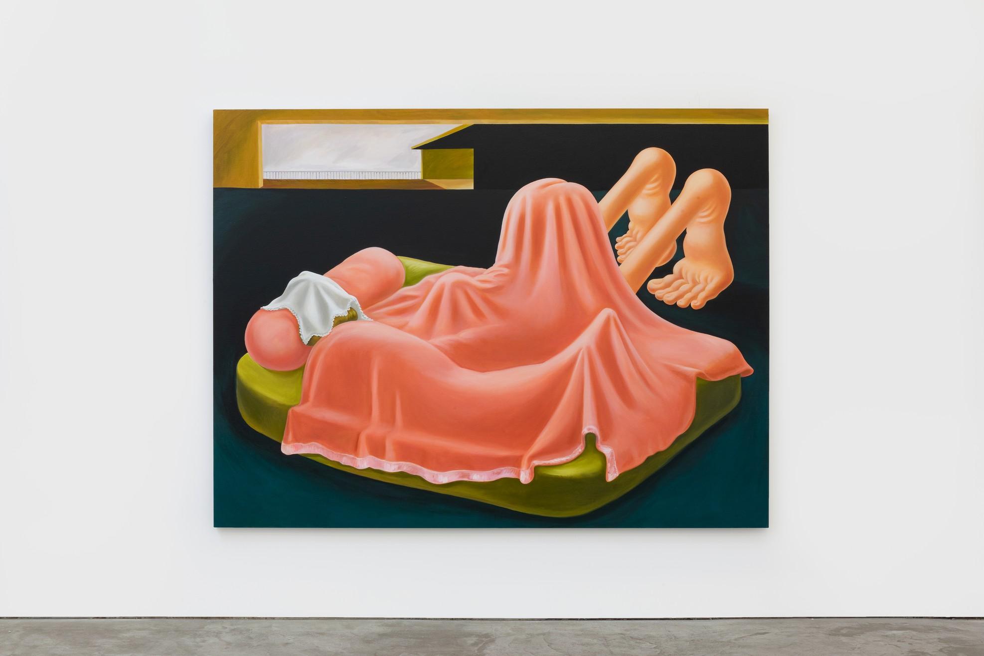 Louise Bonnet, Interior with Pink Blanket, 2019 Oil on linen, 72 × 96 inches (182.9 × 243.8 cm)© Louise Bonnet
