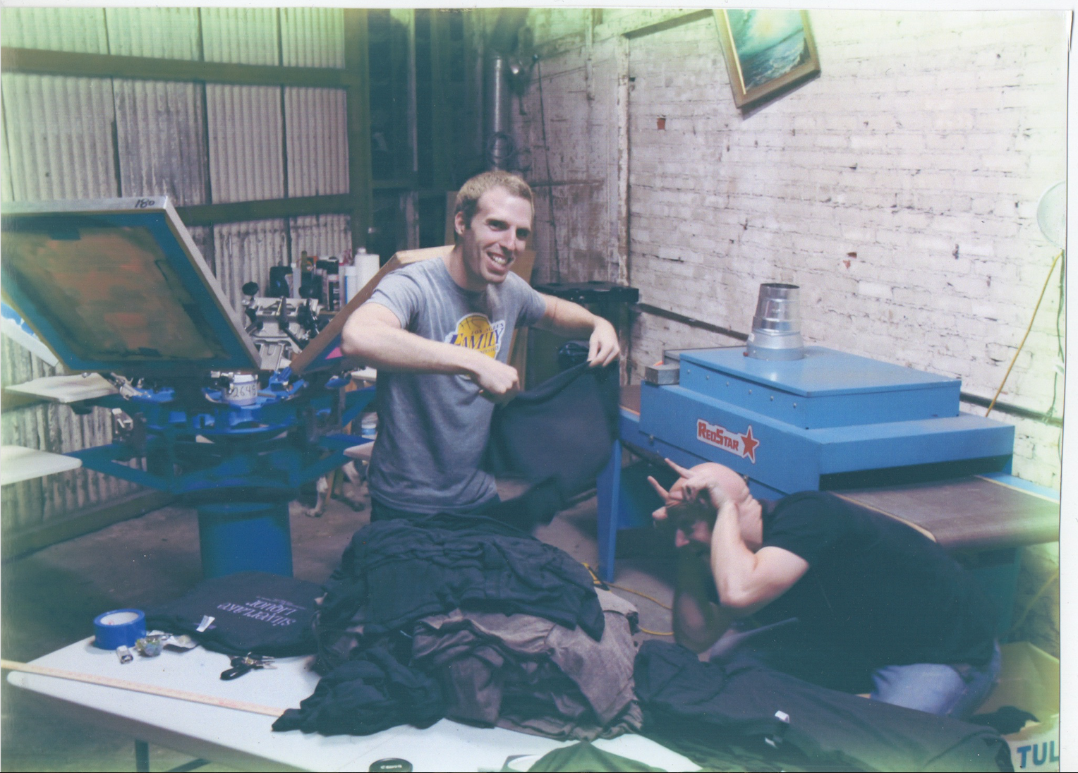 Max (left) and Alex (right) in the first warehouse space they rented in L.A.