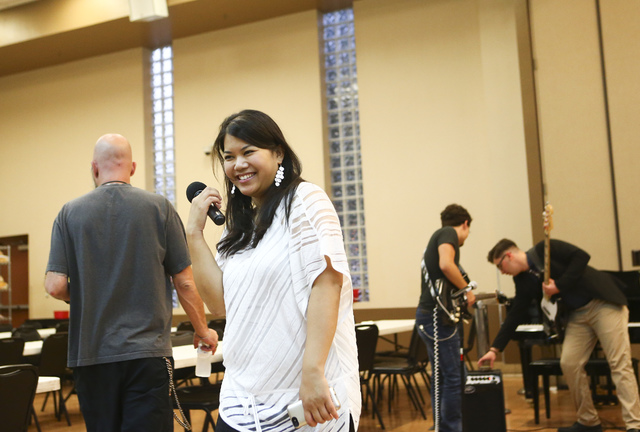 Executive Artistic Director Alexandria Le announces at the Las Vegas Rescue Mission. Photograph: Chase Stevens (Las Vegas Review-Journal)