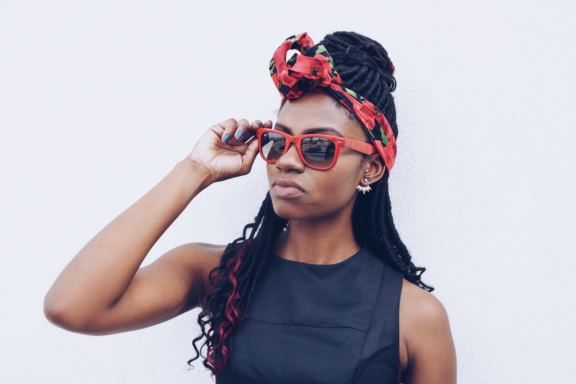 black and red head band red folding ray bans goddess locs with red ends