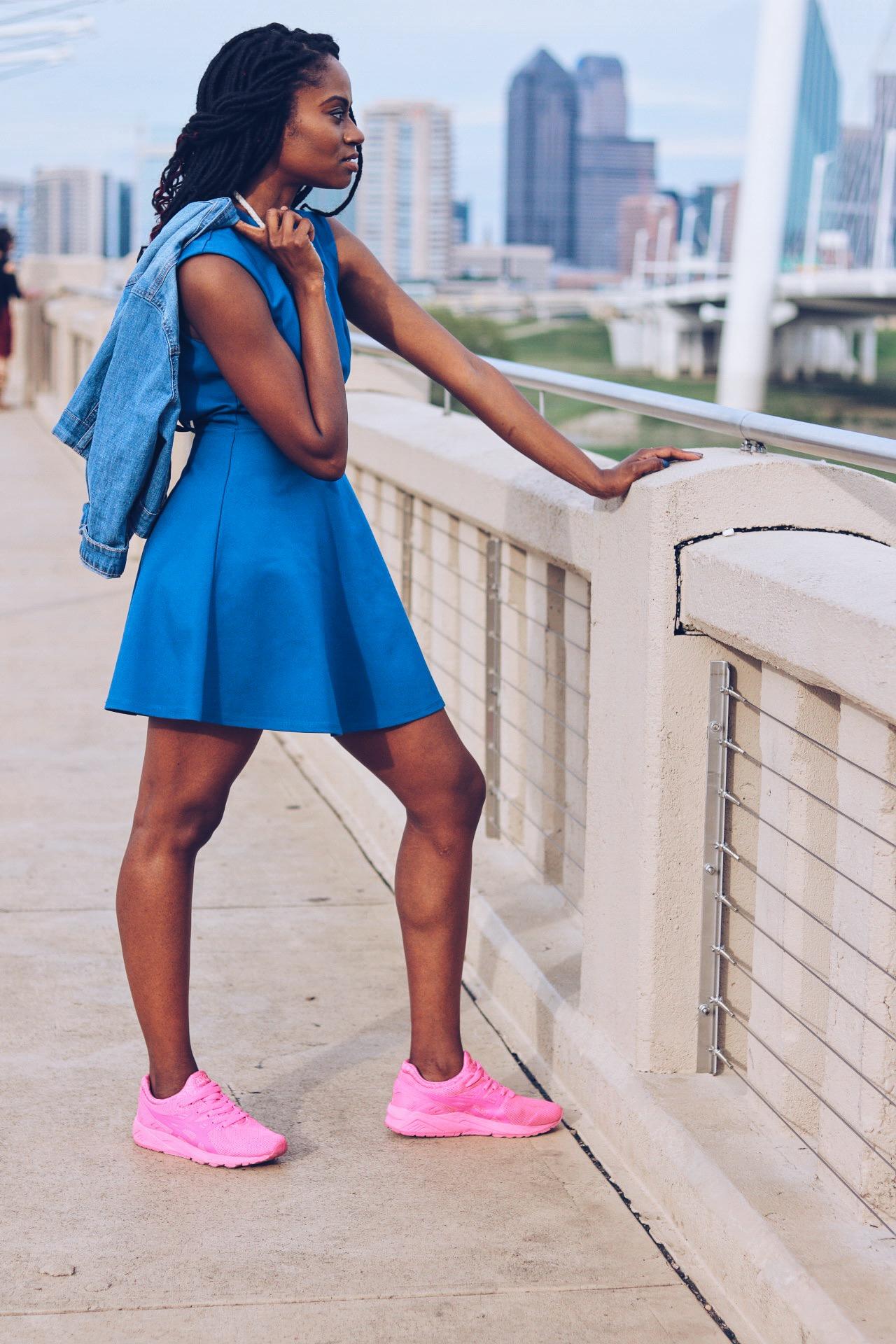 denim jacket blue cut out skater dress neon pink sneakers goddess faux locs