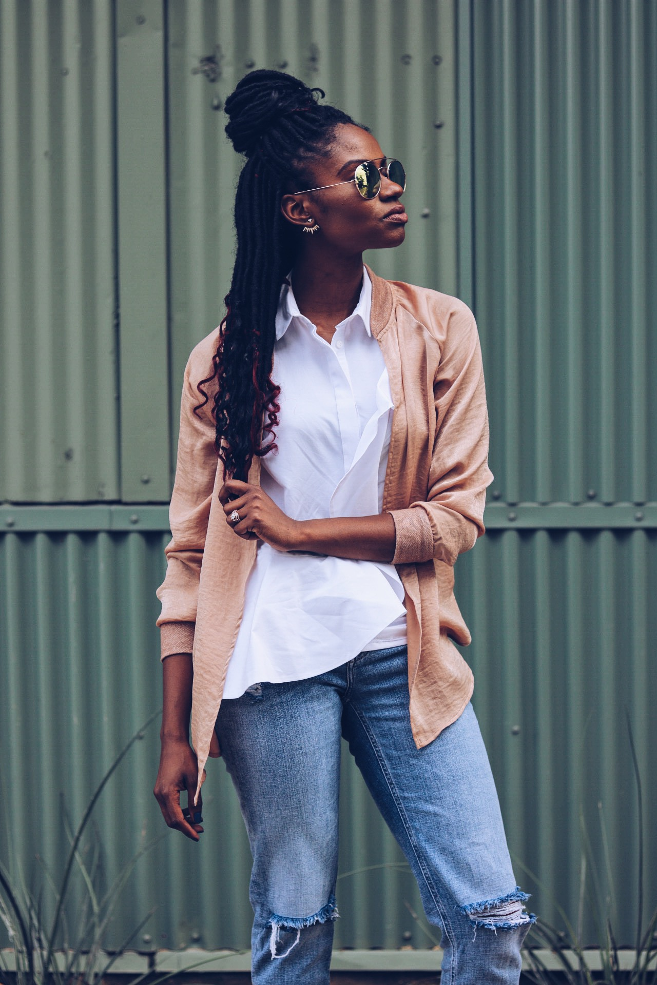 Rose gold bomber white ruffle top distressed denim metallic gold and clear pump