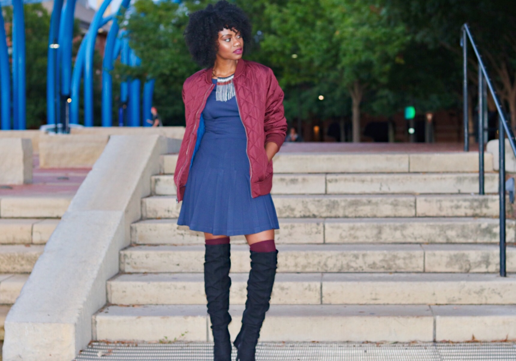 ox blood maroon bomber navy pleated dress maroon over the knee socks black over the knee boots