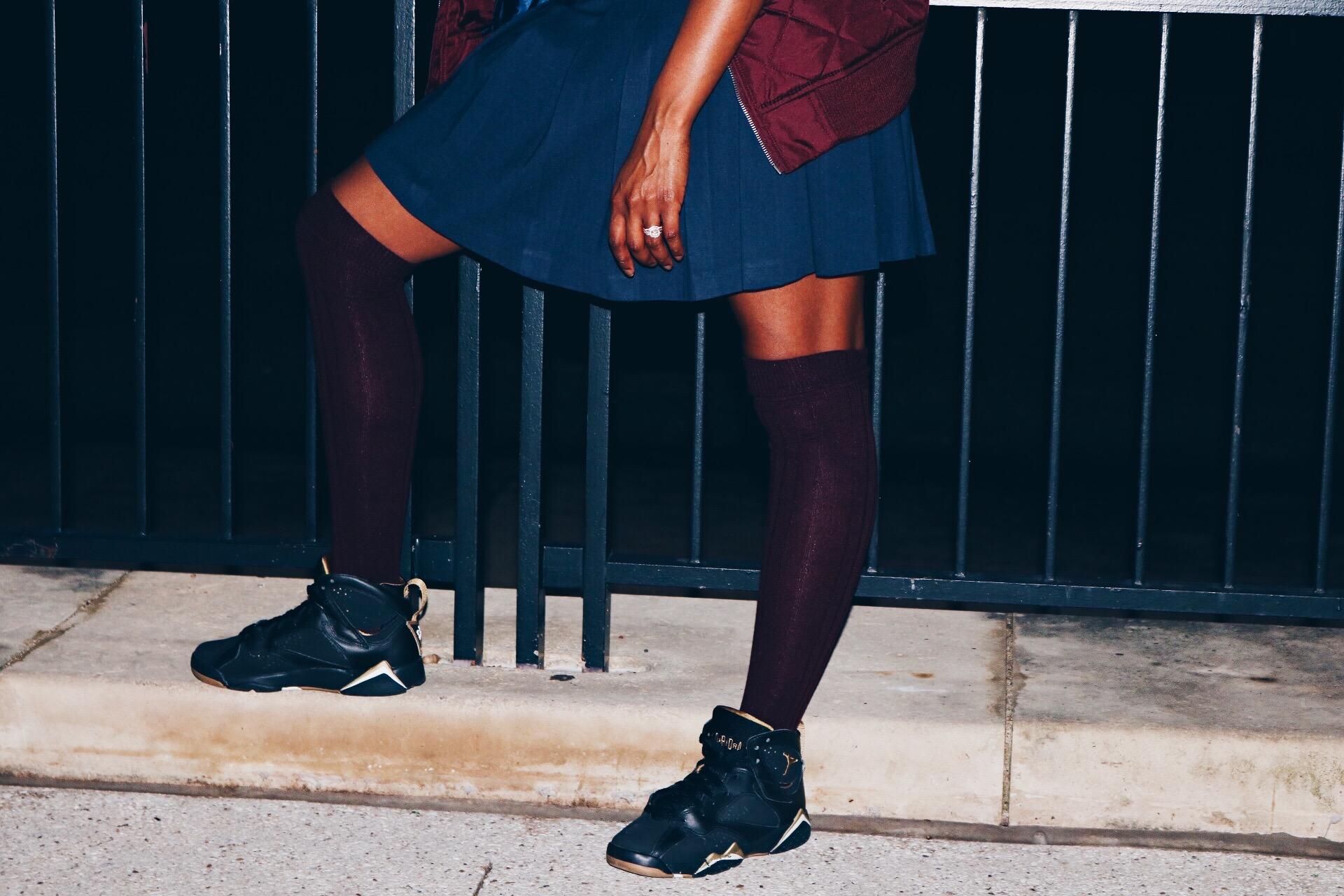 wine bomber navy dress wine over the knee socks black sneakers