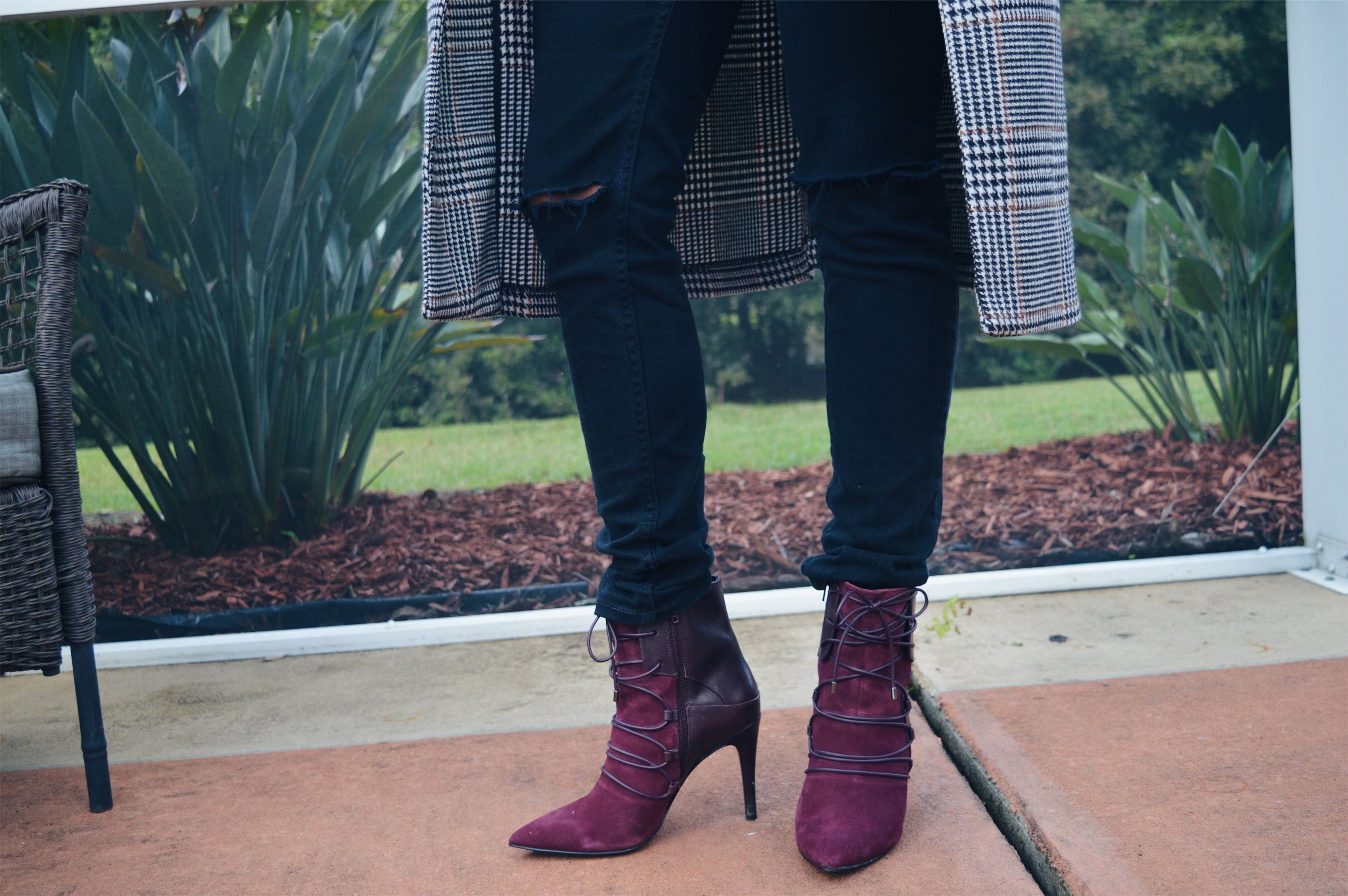 wine oxblood booties heels black distressed jeans