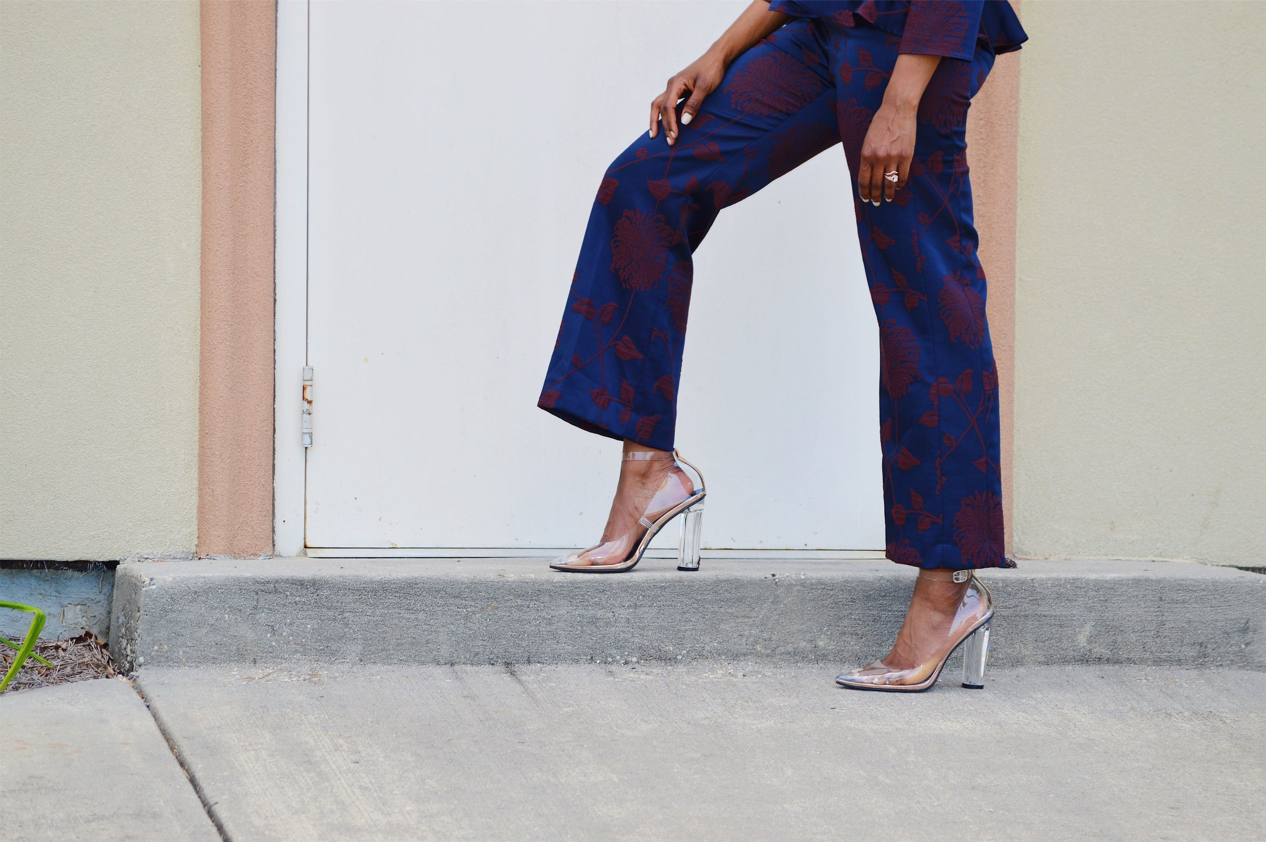 navy peplum top and cropped pants matching set zara clear and rose gold ankle strap block heels