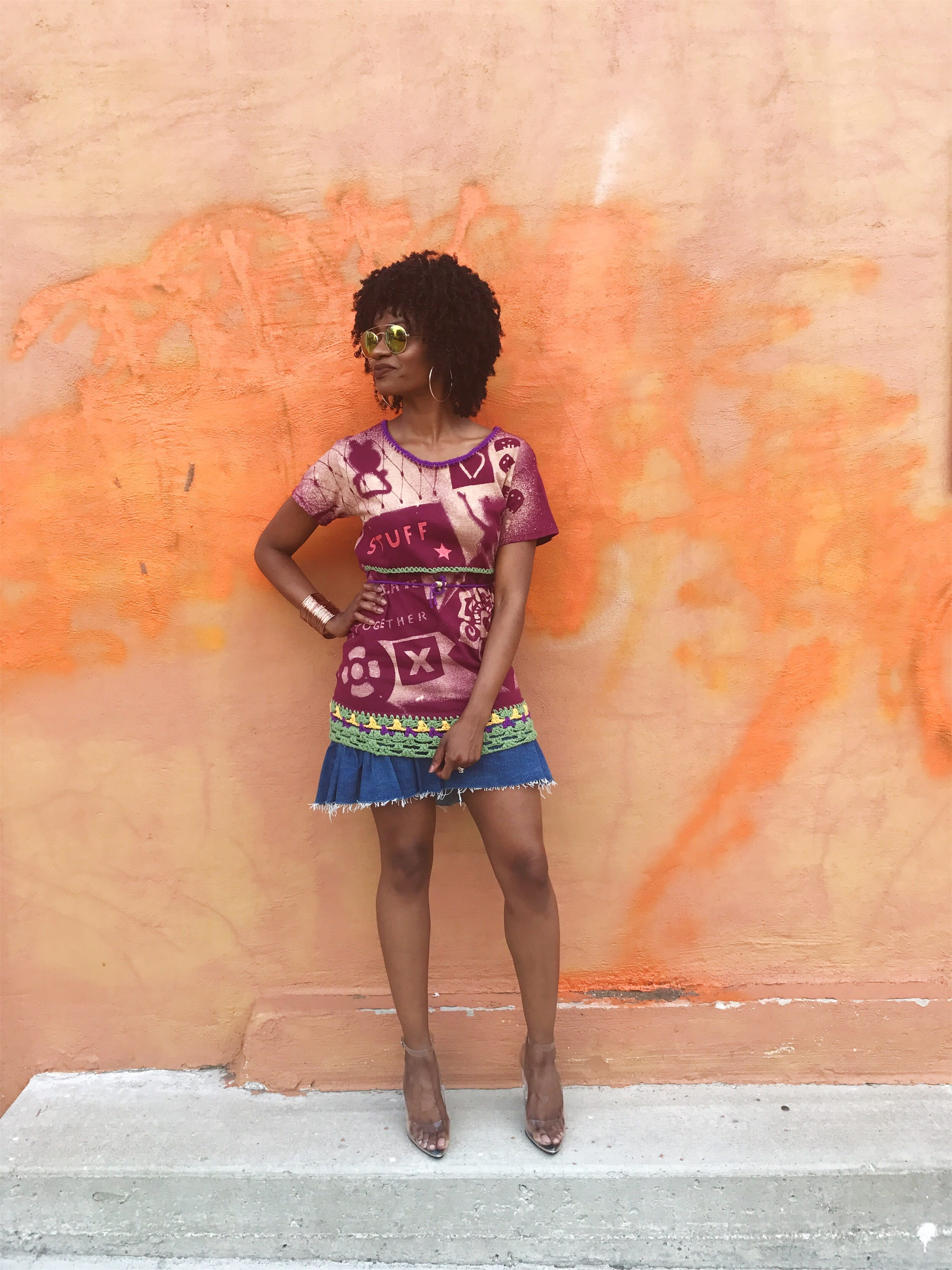 cocomocha milk moss wearable art hm denim ruffle skirt cape robbin clear lucite heels
