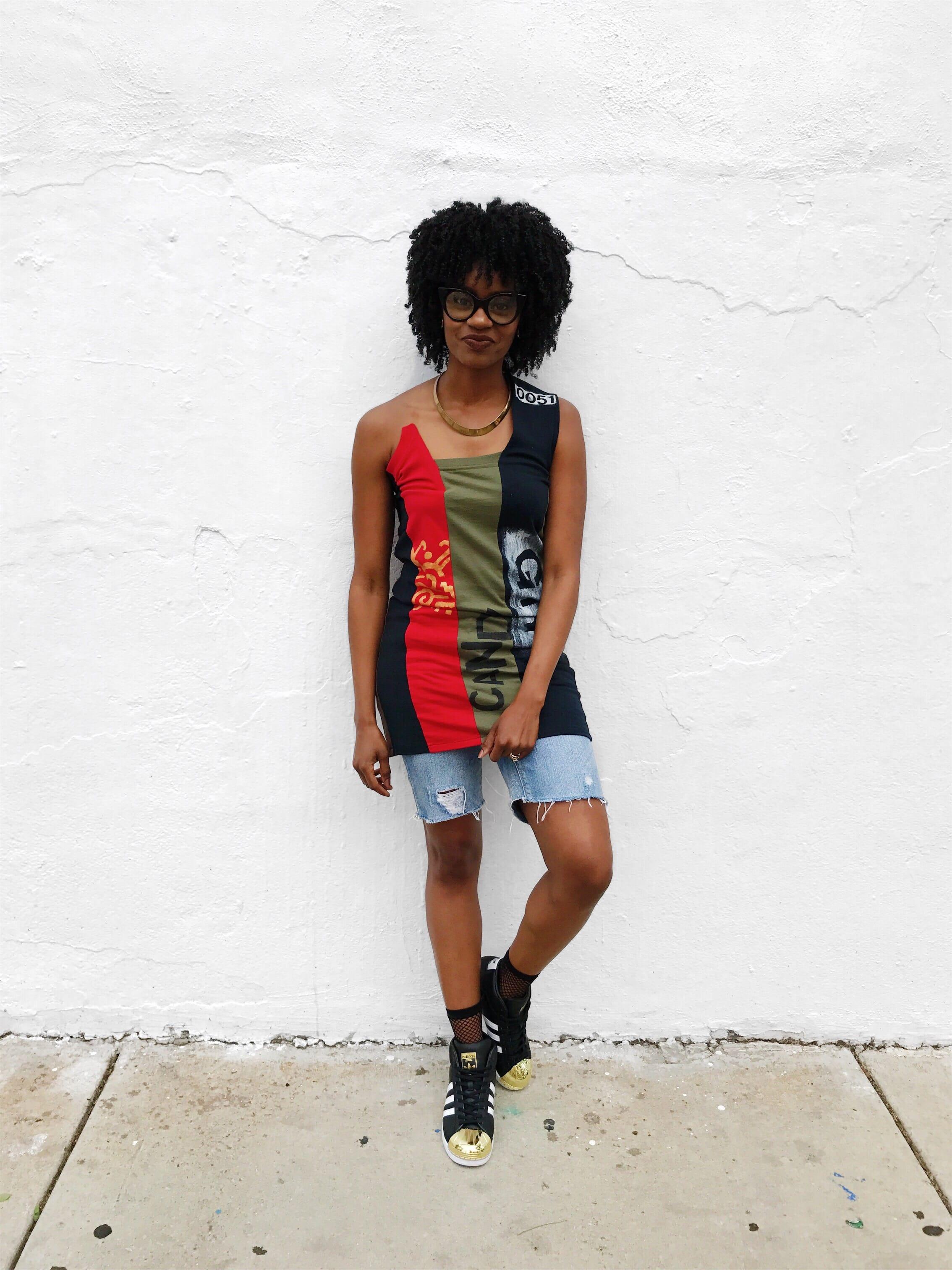 cocomocha urban art wear black red army green one shoulder top distressed denim shorts adidas pro model black white gold toe sneaker
