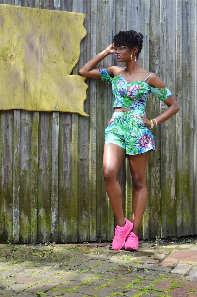 dance and marvel floral matching set neon pink asics gel lyte aldo clear glasses