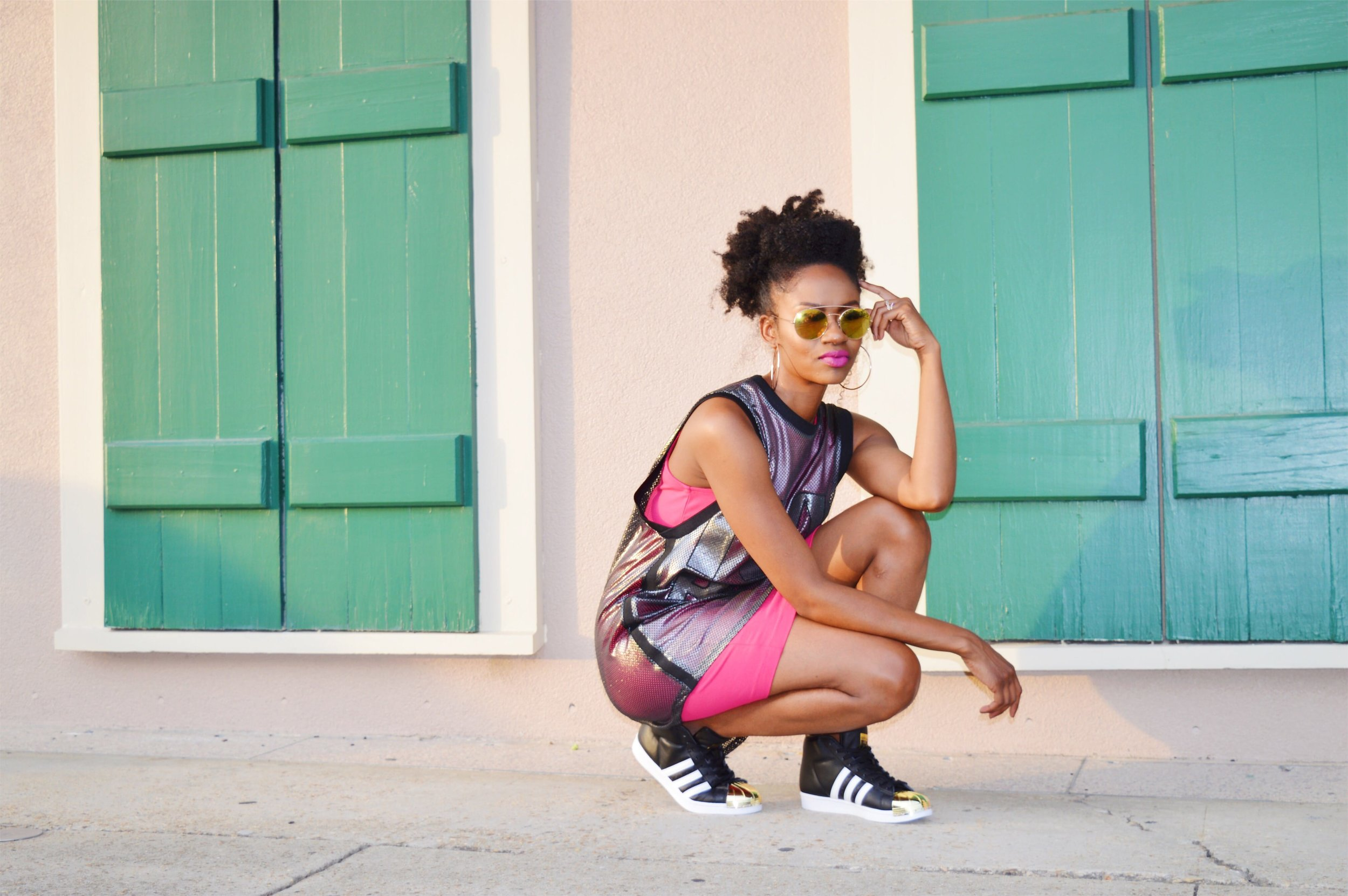 ivy park basketball jersey outfit pink bodycon dress black white gold adidas pro model sneakers