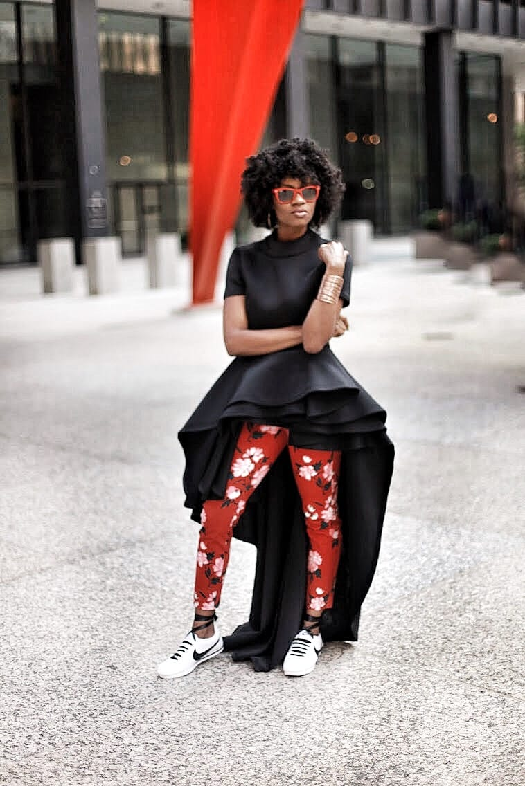 long ruffle high low top red floral pants white and black nike cortez sneakers