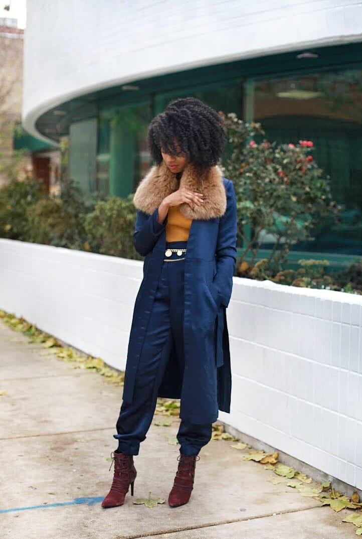 Photo Nov 15, 11 16 15 PM.jpgBeBe satin navy matching set oxblood booties faux fur collar