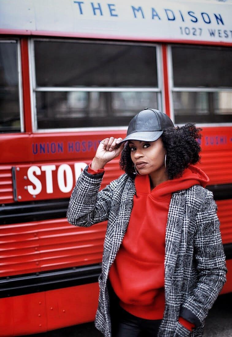 hoodie outfit red hoodie black and white plaid coat leather pants jordan 11 bred