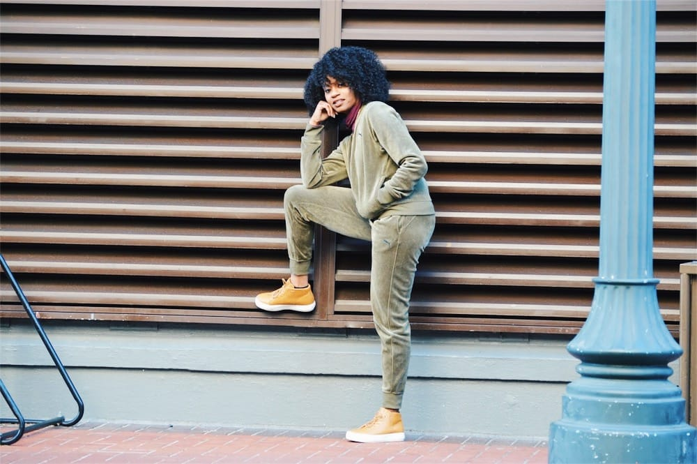 puma velour tracksuit in army green maroon turtleneck anarchy street layered necklace tan unnown sneakers