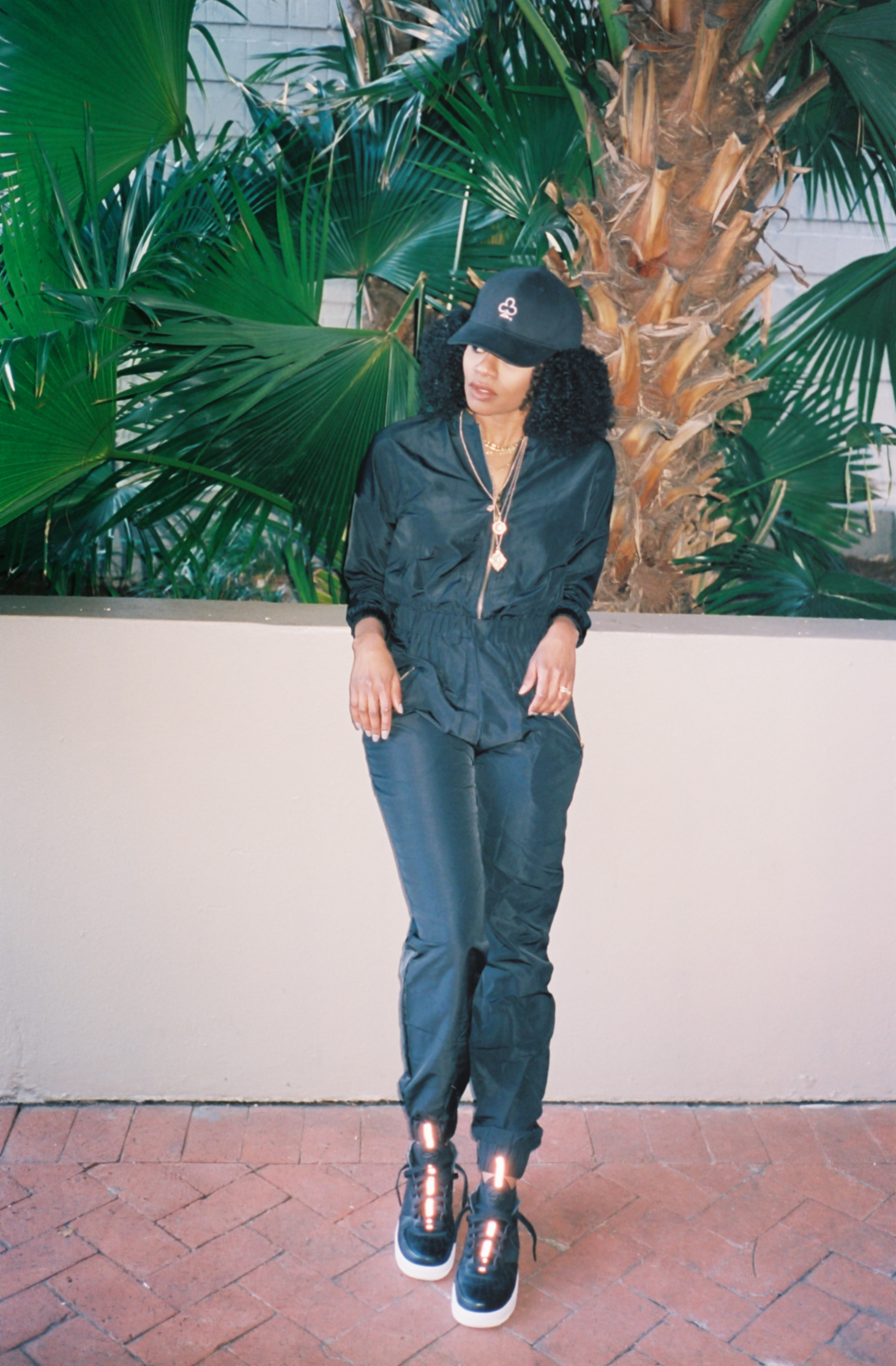 air force 1 ultraforce outfit af1 black fly jane jumpsuit black the loyalty club hat anarchy street gold layered necklaces