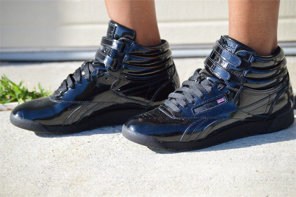 reebok freestyle hi patent outfit zara no more drama sequined graphic tee old navy boys camo cargo shorts turban hat